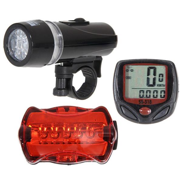 Wholesale-2016 New Waterproof Speedometer Mountain Road MTB Cycle Digital LCD Display + 5 LED Mountain Bike Cycling Light Head + Rear Lamp
