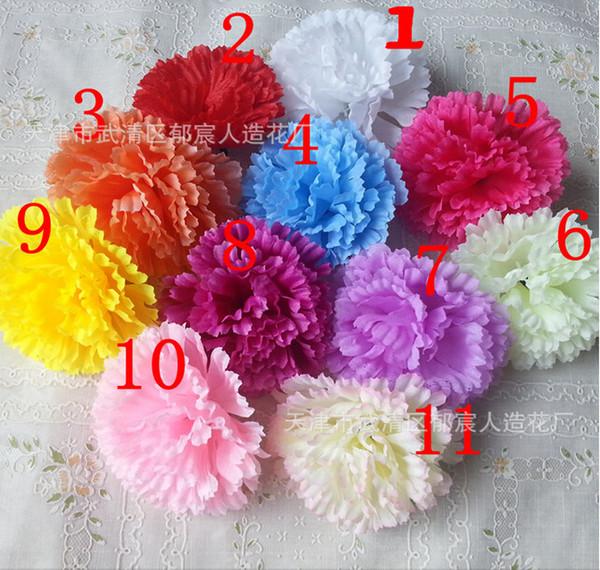100 ADET 9 CM 11 RENKLER yapay karanfil Ipek çiçek DIY düğün dekorasyon çiçekler duvar çiçek buketi öpüşme topu yapımı