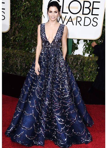 Zuhair Murad Evening Gown Deep V Neck Bling Sequins Navy Blue Prom Dresses Sweep Train Luxury Formal Dress Party Red Carpet Wear