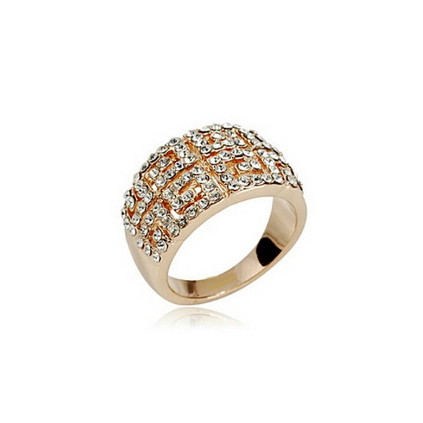 18k Gold Plated Austira Crystal Rings Full Rhinestone Alloy Material Wedding Rings For Women Best Gift 1273
