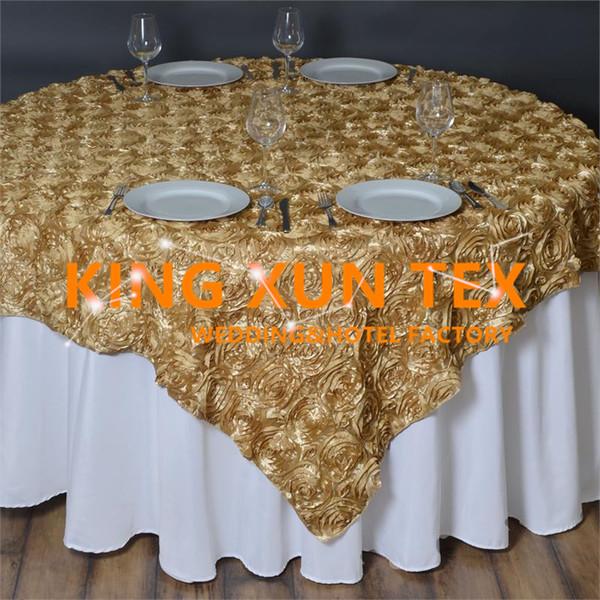 Usine vente Satin Rosette Table Overlay \ Table Cloth Pour la décoration de mariage et événement Livraison gratuite à la porte