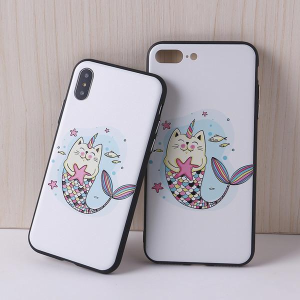 Cartoon Animal Cute Cat Colorful 3D Relief Painting Maple Soft Phone Case for IPhone 7 7Plus 6 6S 6Plus 8 8X 8Plus