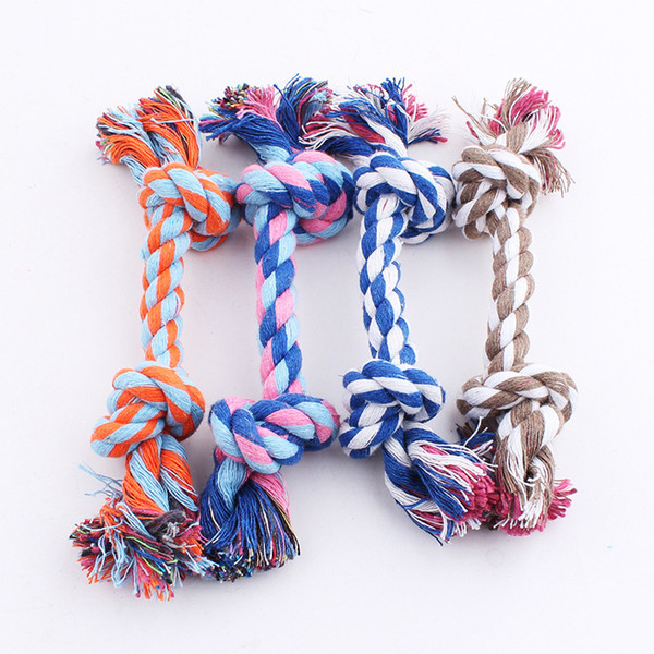 top popular Pet Toy Cotton Braided Bone Rope Double knot cotton rope trumpet Chew Knot for Dog Free Shipping 2021