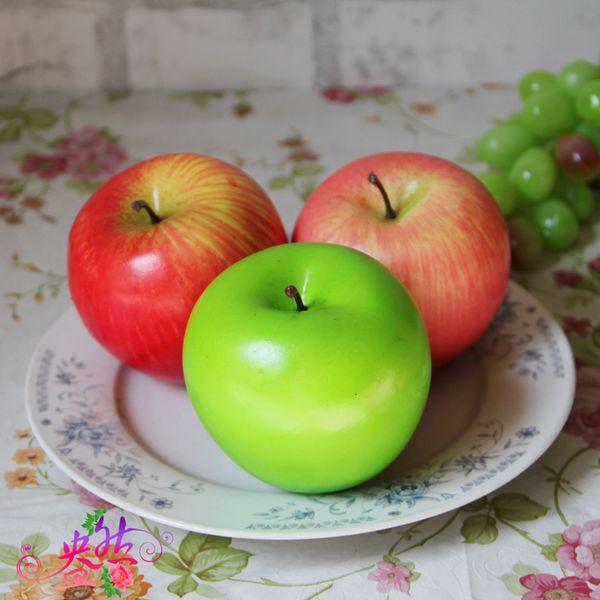 top popular 8.5cm Artificial Large green apple Fruits Simulation green Apple home decor wedding party Decorations supplies cheap wholesale 200pcs 2019