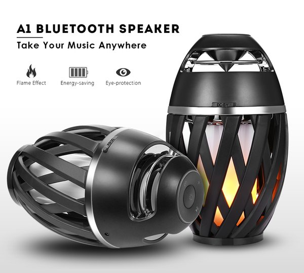 Waterproof IP65 Led Flame Lamp Stereo Bluetooth Speaker BT4.2 Outdoor Portable Speaker LED Dancing Flicker Warm Yellow Light pk charge