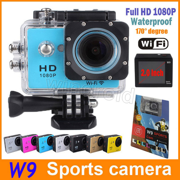 """best selling Waterproof Sports Cam W9 HD Action Camera Diving Wifi 1080P 30M 2.0"""" 170° View DV HDMI Camcorders DHL Colorful 5pcs"""