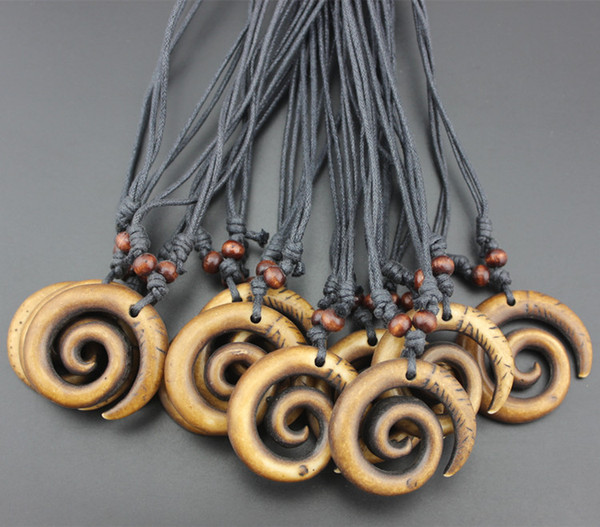 Jewelry Wholesale 12 pcs/lot tribal style Yak Bone Carved New Zealand Maori Koru Fish hook Pendants Surf Necklaces Gifts HE2