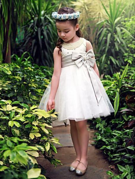 Ball Gown/Princess Knee-length Flower Girl Dress - Satin/Tulle Sleeveless Halloween Easter Birthday Christmas Clothes