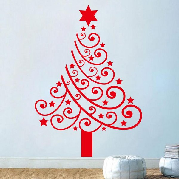 Merry Christmas vinyl tree Wall Stickers removable Christmas Decal home decoration Removable decals xmas24 new year gift