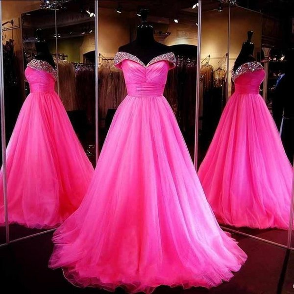 Gorgeous Fushia Crystals Beaded Prom Dresses 2016 Sexy Off Shoulder Backless Arabic Evening Gowns Tulle Ball Gown Formal Party Dresses