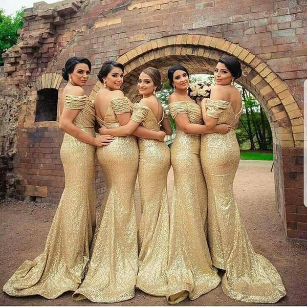 Or paillettes 2019 pas cher robes de demoiselle d'honneur plis de l'épaule sirène longue demoiselle d'honneur robes de bal soirée robe de mariée plus la taille
