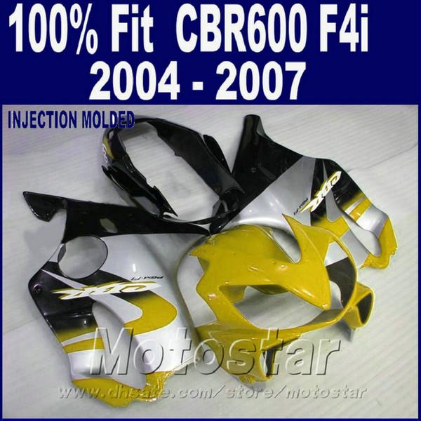 customize Injection molding for HONDA CBR 600 F4i fairings 2004 2005 2006 2007 fairings kit cbr600 f4i 04 05 06 07 yellow CSYS