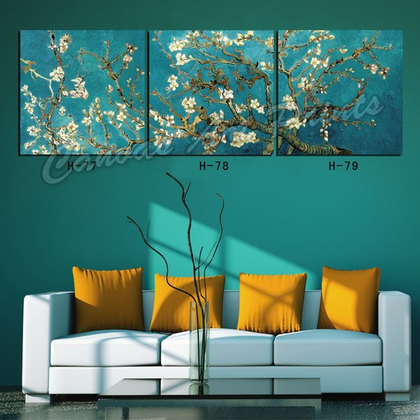 New Home Art Paintings 3 Piece Canvas Art Picture Van Gogh Apricot Flower Decorative Wall Painting Panel Frame for Living Room