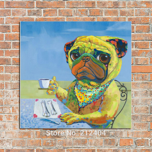 Lovely Cartoon Dog - 100% Hand-painted Oil Painting on Canvas Animal Picture Mural Art Handmade Drawing for Home Office Wall Drcoration