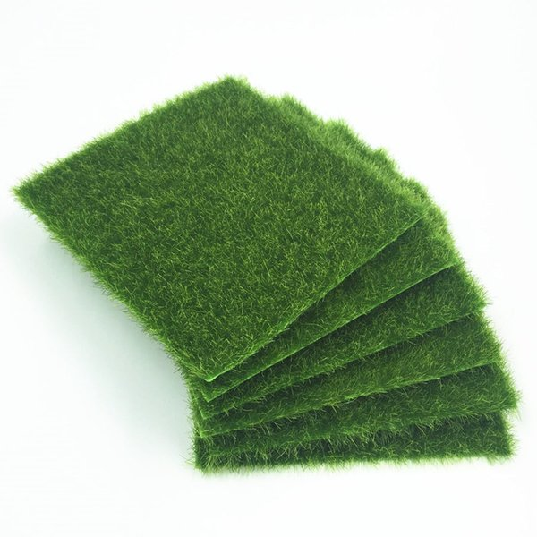 Eco-Friendly 15pcs Grass Mat Green Artificial Lawns 15x15cm Small Turf Carpets Fake Sod Home Garden Moss For Home Floor Wedding Decoration