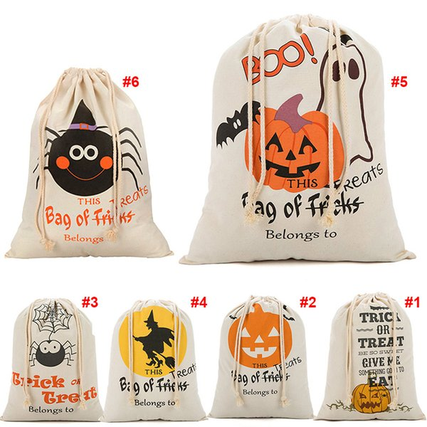New Halloween Sacks Canvas Cotton Drawstring Personalized Print Children Candy Gifts Bag Party Pumpkin Bag Hot Sale