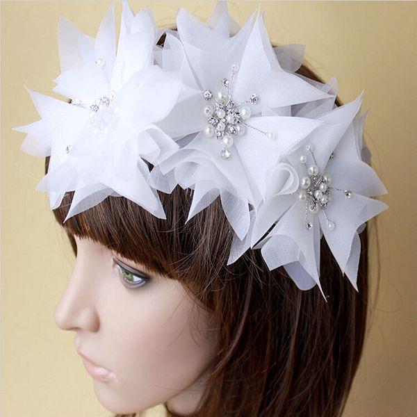 White and Ivory Bridal Wedding Dress Accessories Hair Tiara Headpiece Rhinestone Pearl Gauze Headband Jewellery Free Shipping