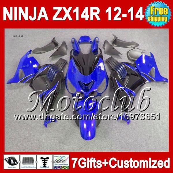7gifts For KAWASAKI 12 13 12 13 ZX14 R NINJA Blue black ZX-14R 12-13 25C136 ZX14R Blue black ZX 14R 2012 2013 2012 2013 ZX 14 R Fairing