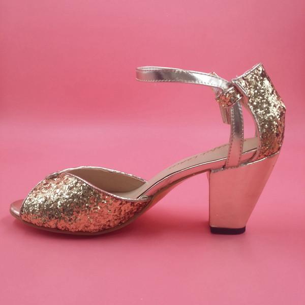 "Fashion Gold/Black Glitter Wedding Shoes Sequins Bridal Shoes Ankle Straps Women Sandals Chunky Heel Large Size Sandal 3.5"" High Heel"