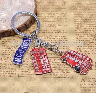HK post 12pcs/lot Fashion British Muti-style Key chain Creative Design souvenir keychain keyring Free shipping