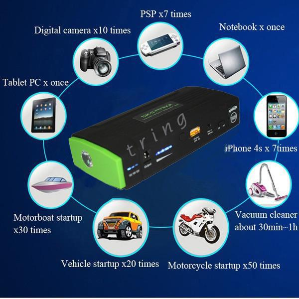 Portable Power Bank Multi-Function 12v Car Jump Starter LED Mini Portable Vehicle Emergency Power Charger for Cellphones tablet PC