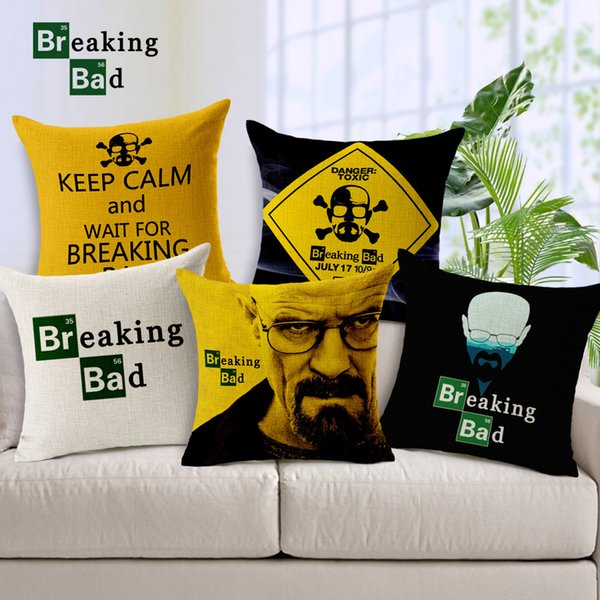 Home Decorative Linen Cotton Cushion Cover Breaking Bad Danger Toxic Skull Cushions Pillows Covers Sofa Couch Car Throws Pillow Case Gift
