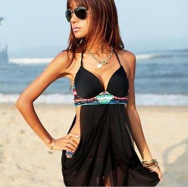 Al por mayor- GLANE Breve 2017 Nuevas sexys mujeres traje de baño atractivo empuja hacia arriba el sujetador acolchado Bikini Set traje de baño negro vestido de playa One Piece Beachwear EE. UU.