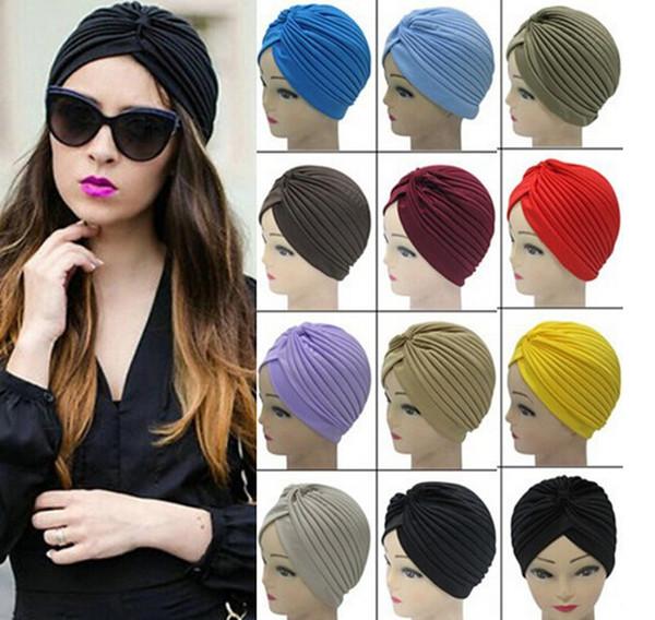 Top Quality Stretchy Turban Head Wrap Band Sleep Hat Chemo Bandana Hijab Pleated Indian Cap Yoga turban hat 20 Colors Free DHL