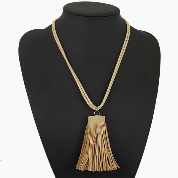 Nuovo arrivato dichiarazione nero nappa pendente collane donne moda in pelle corda lunga collana maglione gioielli regalo whloesale