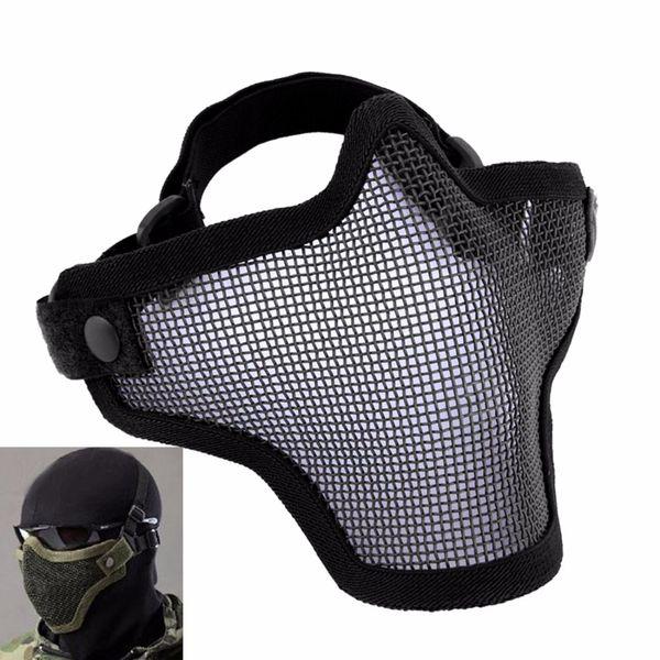 Airsoft Mask Tactical Helmet Half Face Face Mesh Metallo Acciaio Net CS GO Caccia Orologio protettivo Cani maschera