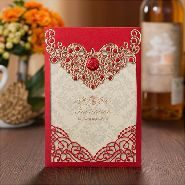 Luxury Laser Cut Wedding Invitations Red Embossed Floral Birthday Cards Engagement Marriage Party Invites Favors Supplies 50set