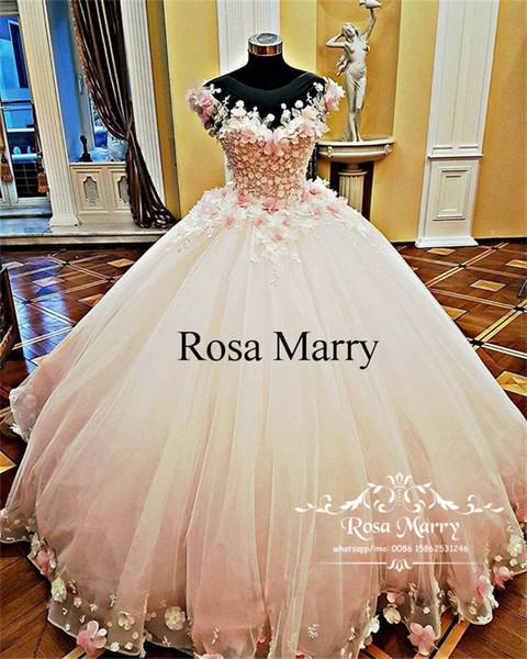 Compre Pink Sweet 16 Masquerade Ball Dress Quinceanera 2020 3d Floral Vintage Lace Flowers Más Tamaño Vestidos 15 Años Vestidos De Fiesta De