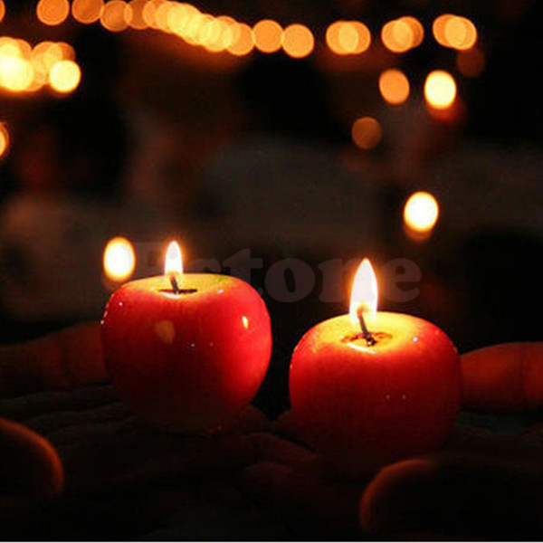 Free shipping Christmas Red Apple Shape Candle Fruit Scented Home Decoration Greet Gift L024