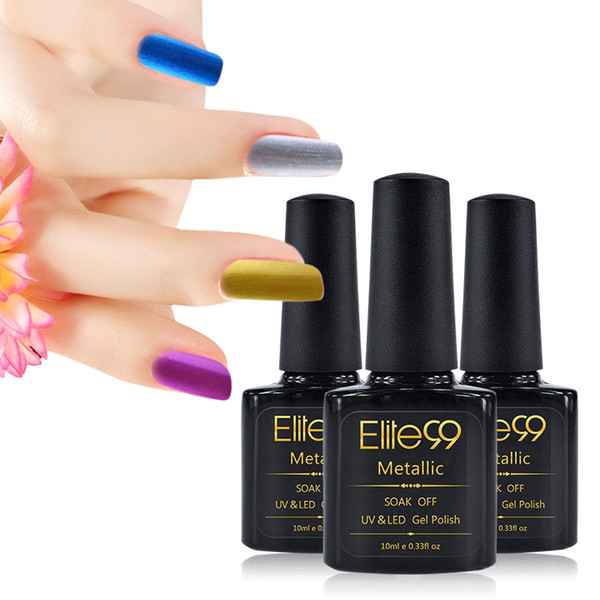 Wholesale-Elite99 10ml Metallic Gel Nail Polish Professional Manicure Soak-off UV LED Nail Art Gel Choose Any One From 12 Color