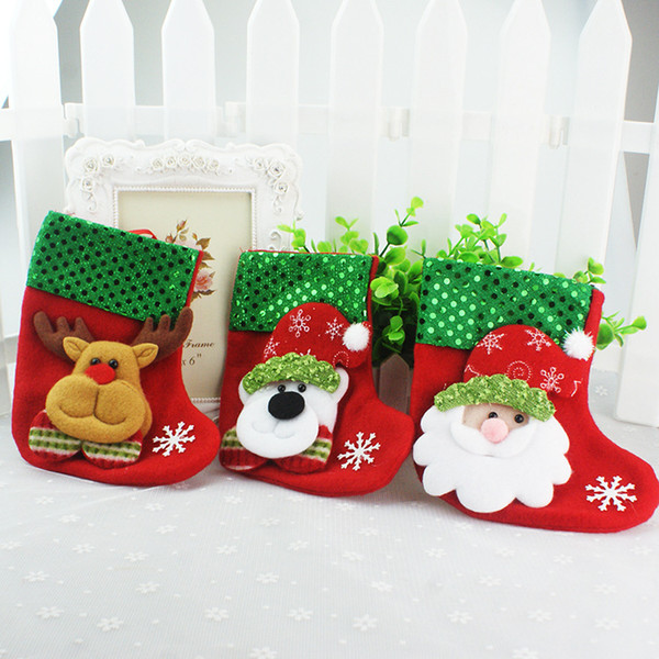 NEW Christmas Stocking Sequin Socks Gifts Sacks Candy Bags Cartoon Stockings Christmas Tree Decor Santa Claus Snowman Deer Bear Hot Sale
