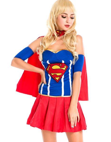 Классический картон роль Хэллоуин костюмы суперженщина сексуальный Супергерл костюм DC косплей карнавальный костюм W208994