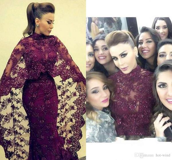 Abaya In Dubai 2018 Purple Lace Evening Dresses Mermaid Muslim Arabic Celebrity Party Gowns New yousef aljasmi Kaftan Dress