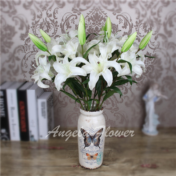 Wholesale Artificial High quality real touch PU 2 color lily Flowers 3 head Decoration for table home vase hotel living room