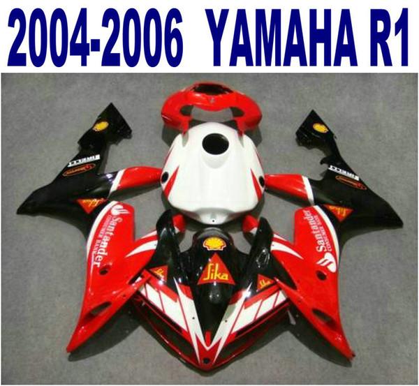 Injection molding ABS full fairing kit for YAMAHA 2004 2005 2006 YZF R1 black red Santander motorcycle fairings set 04-06 yzf-r1 VL49