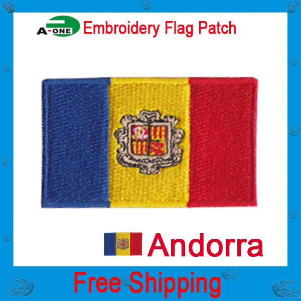 andorra Flag patch embroidered Iron On Towel fabric patch sew on sew on Motif Applique garment embroidery patch DIY accessory free shipping