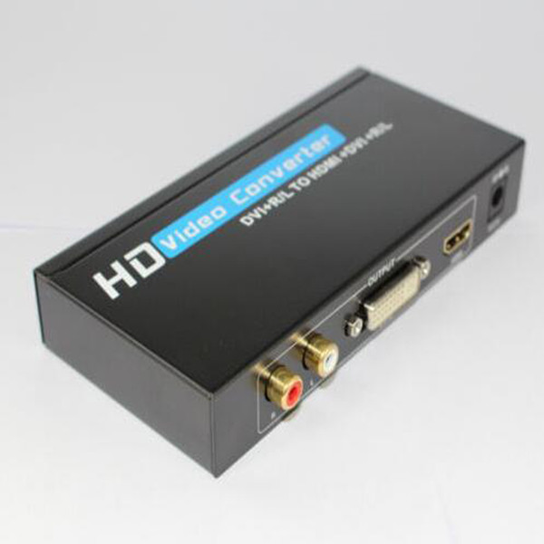 Freeshipping Nouvelle arrivée L / R Audio + séparateur convertisseur DVI vers HDMI DVI + sortie audio avec adaptateur secteur