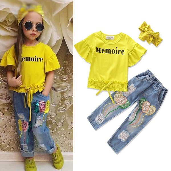 Kids Clothing Summer Yellow Baby Girls Outfits Fashion Children Clothes Sets Letter Tops + Sequin balloon Denim Trousers 2pcs Suits