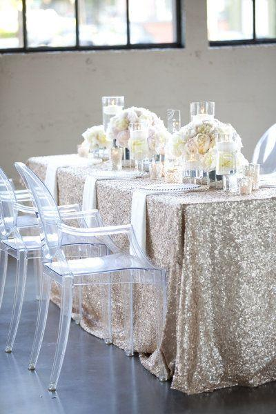 Buy It Now !! Free Shipping Beautiful Champagne 90''*132'' Rectangle Sequin Wedding Tablecloth Sequin Tablecloth Cocktail Table