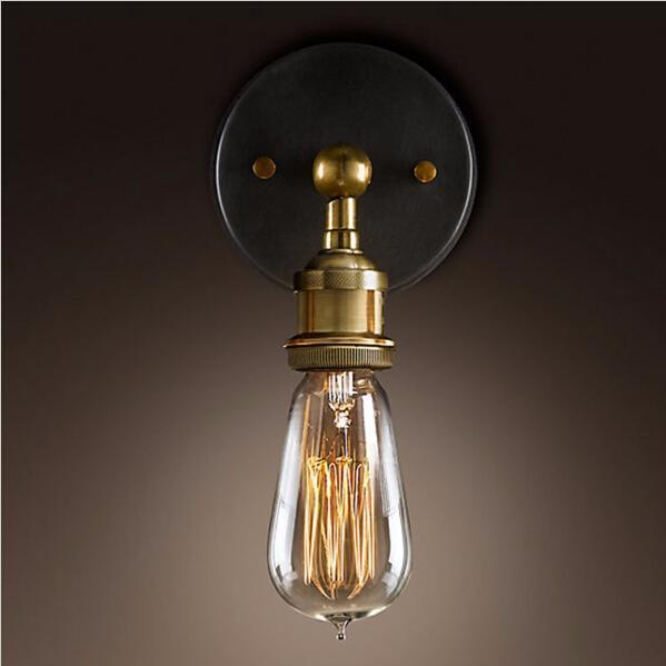 LED-Vintage-Wandleuchten Retro-LED-Wandleuchten Shadeless E27-Filament leuchtet Industrie-Metall-Einzelwandleuchten E27 Lampenfassung AC110-240V