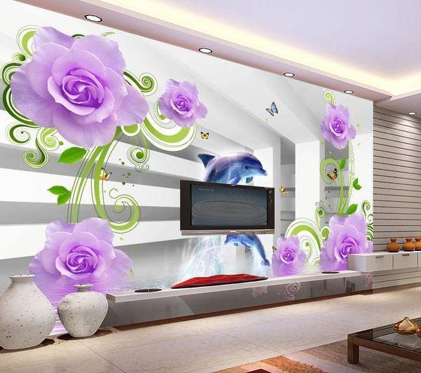 Papel de parede rosas reflexão na água mural adesivo de parede novo papel de parede grande papel de parede costomize tamanho 897528