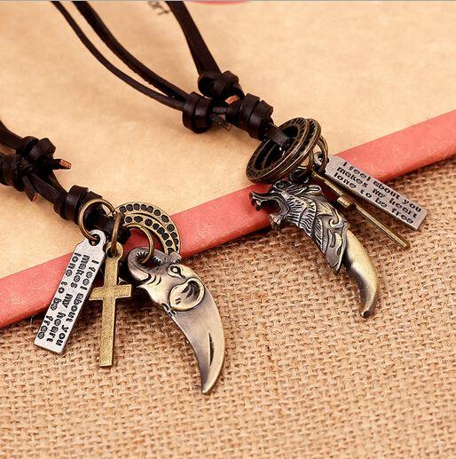 2015 Retro Genuine Leather Necklace Men Vintage Cowhide Wolf Tooth Pendant Necklaces Cord Jewelry Male Colar De Couro Masculino SL095
