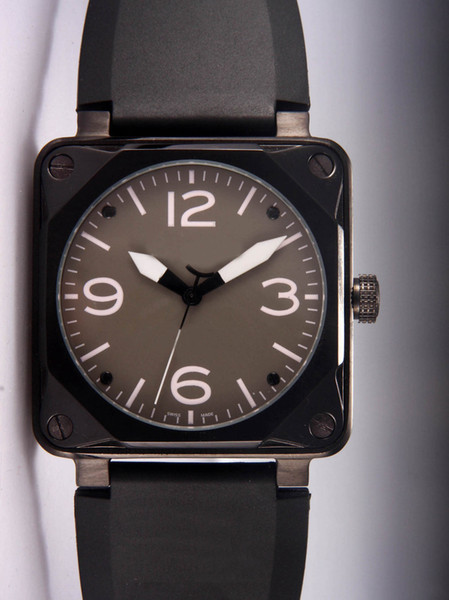 Wholesale Prices Automatic Luxury Mechanical Vintage Style Black Rubber Wristwatch Swiss Brand Square PVD Stainless Mens Watches For Men Man