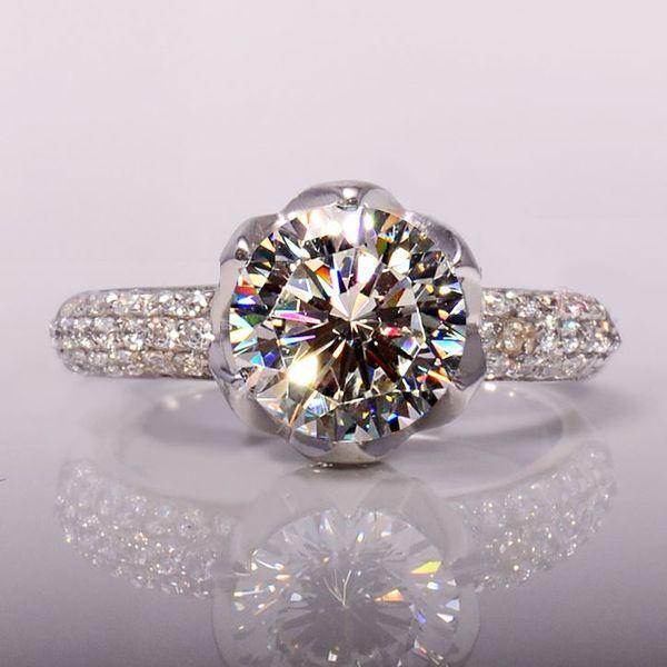 Y24 Petal Sterling Silver Diamond Ring 3 kt simulación platino plateado sona anillo de bodas de diamantes modelos envío