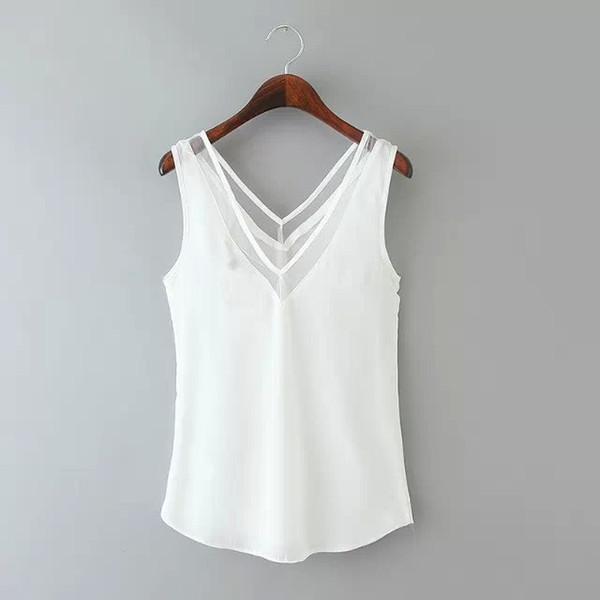 2015 chaleco de gasa de las mujeres blusas sin mangas Tops Femininas moda mujer ropa informal Camisa Blusa damas tallas grandes
