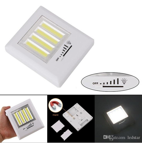 Super Bright 8W 4 COB LED Light Wireless Wall Lamp Battery Operated Cordless Dimmer Switch Magnetic